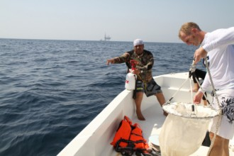 Mohammed Al-Jeidah from the Qatar Ministry of Environment instructing the deployment of the plankton net