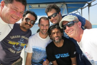 From left to right : David Robinson, Ali Mubarak Al-Kuwari, Chris Rohner, Khalid Al Hamadi, Simone Caprodossi, and Steffen Bach